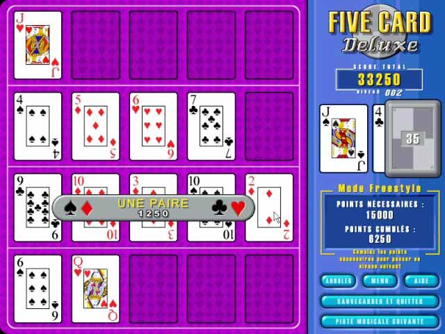Capture D'écran Du Jeu 1 Five Card Deluxe